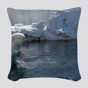 Beluga Whale jumping 2 Woven Throw Pillow