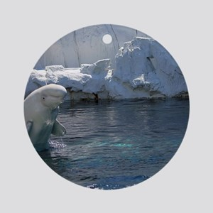 Beluga Whale jumping 2 Round Ornament