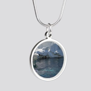 Beluga Whale jumping 2 Silver Round Necklace