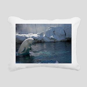 Beluga Whale jumping 2 Rectangular Canvas Pillow