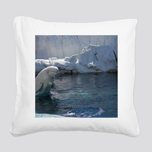 Beluga Whale jumping 2 Square Canvas Pillow