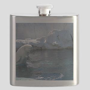 Beluga Whale jumping 2 Flask