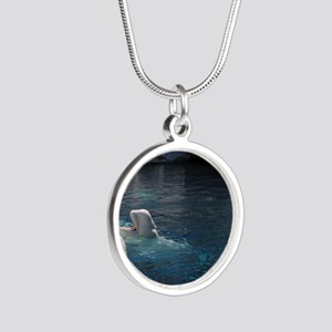 Beluga Whales Silver Round Necklace