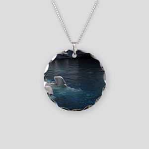 Beluga Whales Necklace Circle Charm