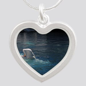 Beluga Whales Silver Heart Necklace
