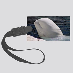 Close up of a Beluga Whale Large Luggage Tag