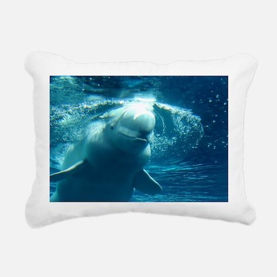 Close up of a Beluga Wha Rectangular Canvas Pillow