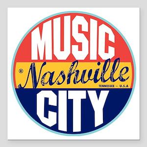 """Nashville Vintage Label  Square Car Magnet 3"""" x 3"""""""