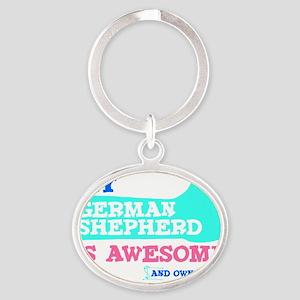 Germ-Shep-Thumbs-UP-2 Oval Keychain