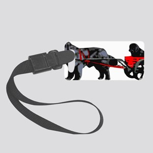 Newf Puppy in Draft Cart Small Luggage Tag
