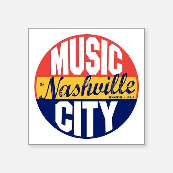 "Nashville Vintage Label B Square Sticker 3"" x 3"""