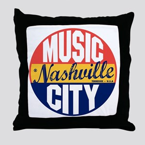 Nashville Vintage Label B Throw Pillow