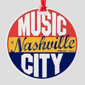 Nashville Vintage Label B Round Ornament