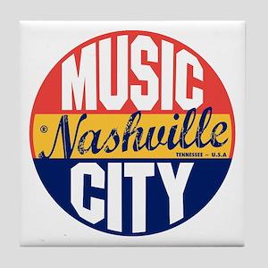 Nashville Vintage Label B Tile Coaster