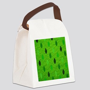 PatternLeafGrn Canvas Lunch Bag
