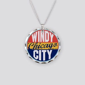 Chicago Vintage Label W Necklace Circle Charm