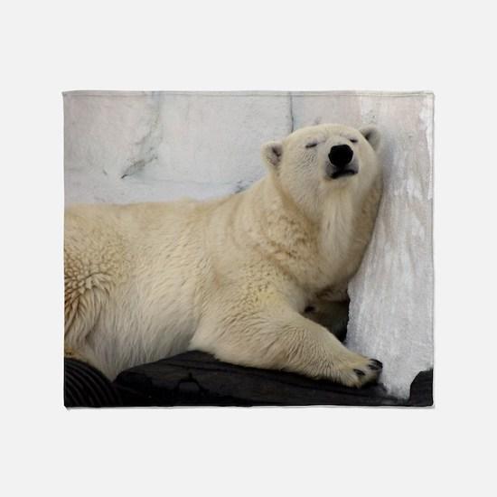 Polar Bear looking sleepy 2 Throw Blanket