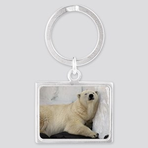 Polar Bear looking sleepy 2 Landscape Keychain