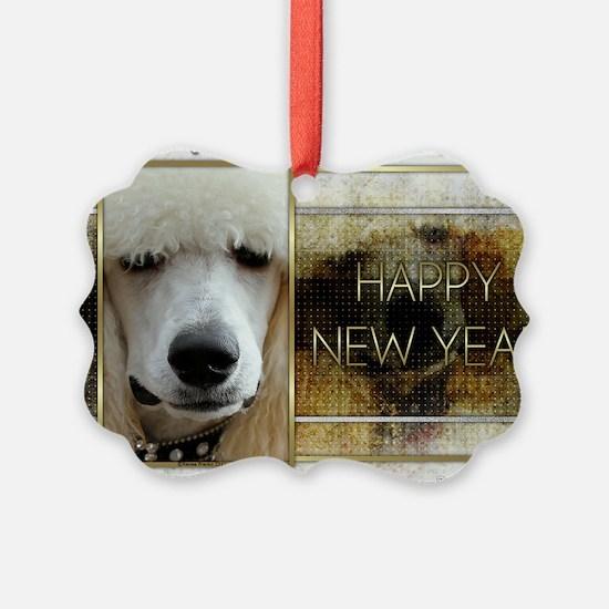 NewYearGoldenElegancePoodleAprico Ornament