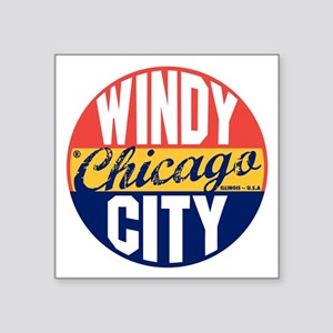 "Chicago Vintage Label B Square Sticker 3"" x 3"""