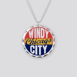 Chicago Vintage Label B Necklace Circle Charm
