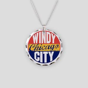 Chicago Vintage Label B Necklace Circle Charm
