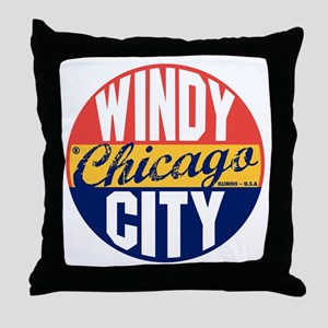 Chicago Vintage Label B Throw Pillow