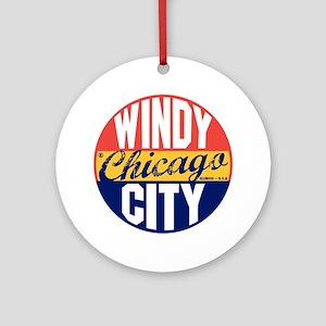 Chicago Vintage Label B Round Ornament