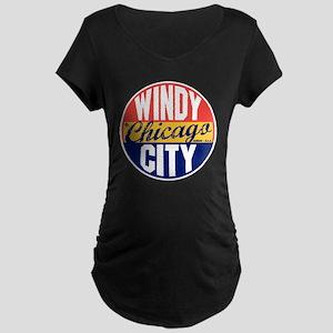 Chicago Vintage Label B Maternity Dark T-Shirt
