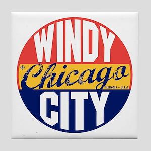 Chicago Vintage Label B Tile Coaster
