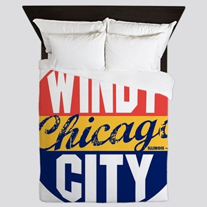 Chicago Vintage Label B Queen Duvet