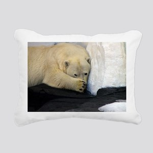 Polar Bear peeking out f Rectangular Canvas Pillow