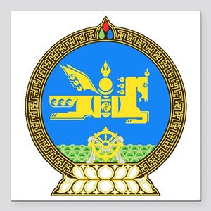 "Mongolia Coat of Arms Square Car Magnet 3"" x 3"""
