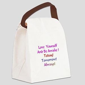 LoveYourselfand BeAwakeXXX Canvas Lunch Bag