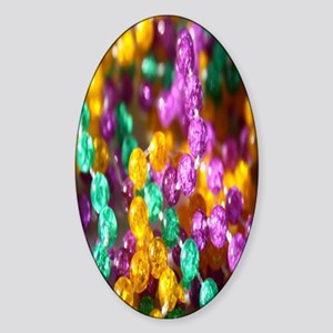 mardi-gras-beads-closeup Sticker (Oval)