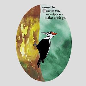 Woodpecker Haiku Oval Ornament
