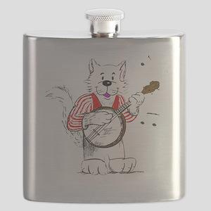 Banjo  Cat TransBack White Copyrite Flask