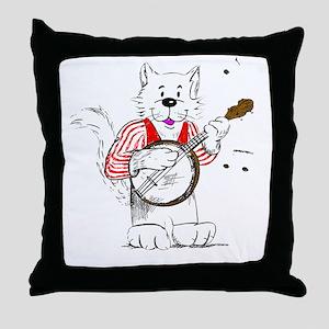 Banjo  Cat TransBack White Copyrite Throw Pillow