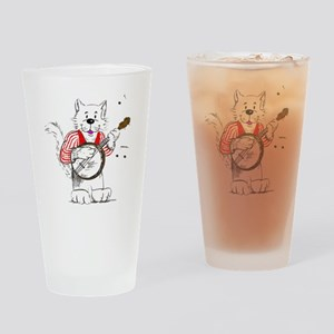 Banjo  Cat TransBack White Copyrite Drinking Glass