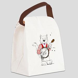 Banjo  Cat TransBack White Copyri Canvas Lunch Bag