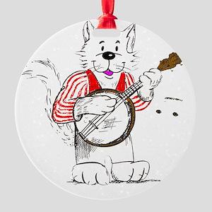 Banjo  Cat TransBack White Copyrite Round Ornament