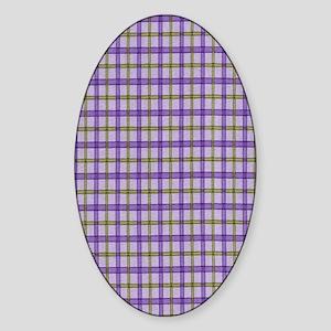 purple plaid Sticker (Oval)