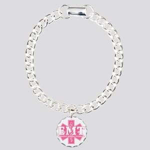 star of life - pink EMT  Charm Bracelet, One Charm