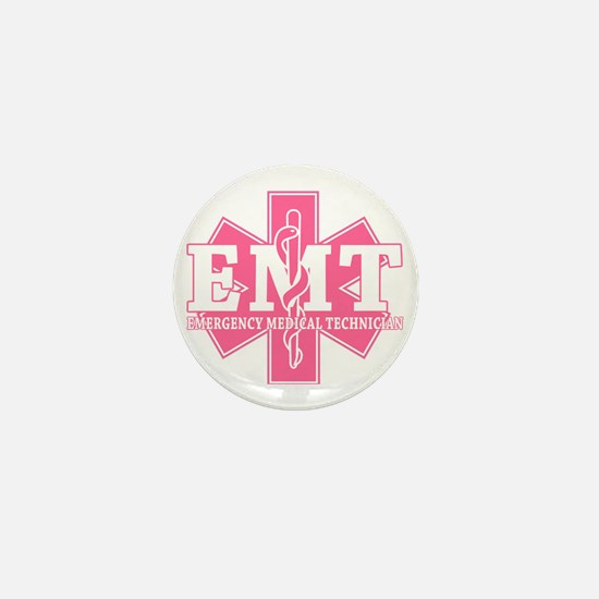star of life - pink EMT word Mini Button