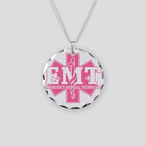 star of life - pink EMT word Necklace Circle Charm