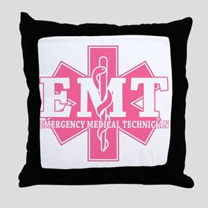 star of life - pink EMT word Throw Pillow