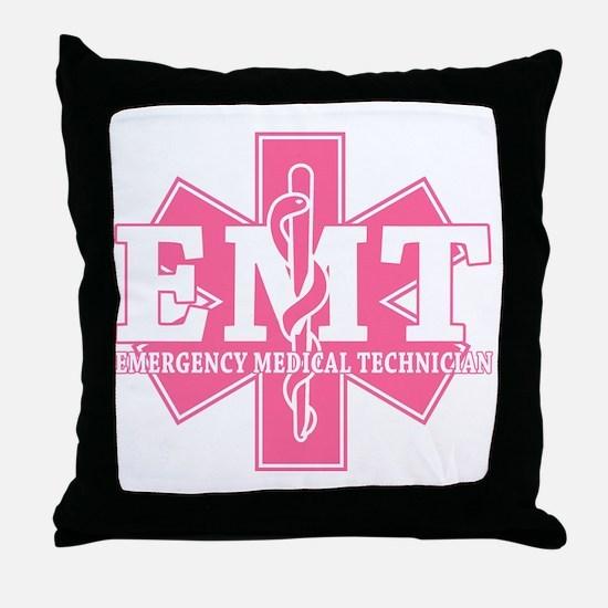 star of life - pink EMT word Throw Pillow