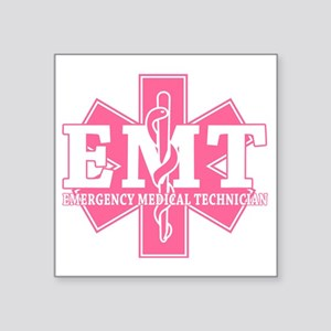 "star of life - pink EMT wor Square Sticker 3"" x 3"""