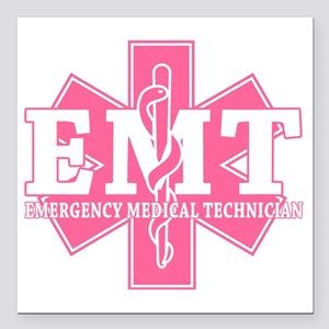"star of life - pink EMT  Square Car Magnet 3"" x 3"""