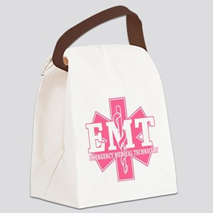 star of life - pink EMT word Canvas Lunch Bag